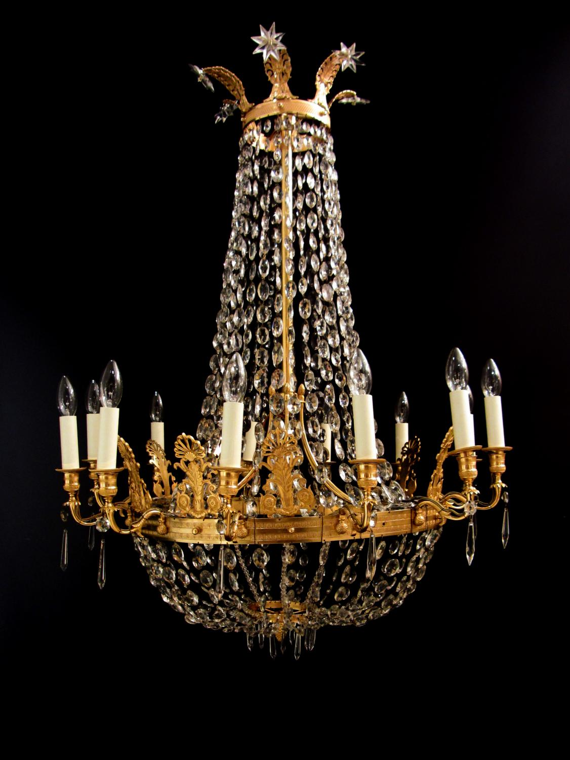 A twelve arm French Empire style chandelier