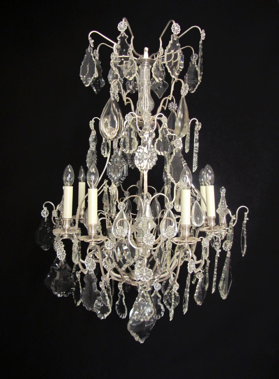 An elegant silvered French chandelier