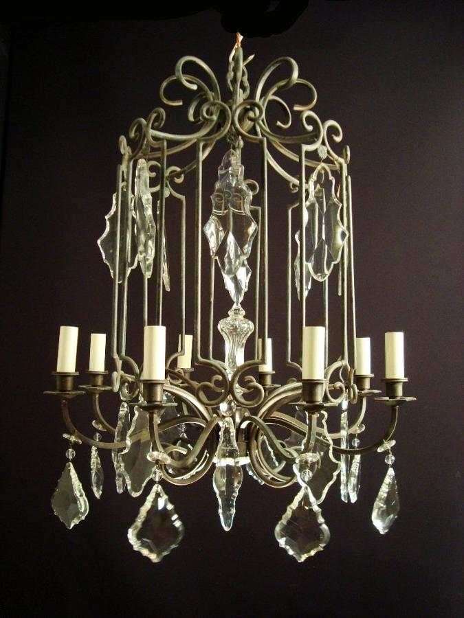An unusual black patinated brass chandelier