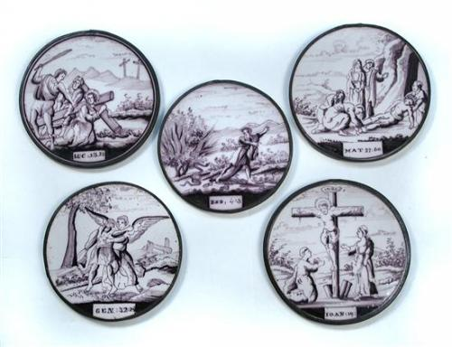 A set of Dutch early Delft manganese tiles