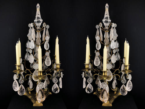 A pair of rock crystal girandoles