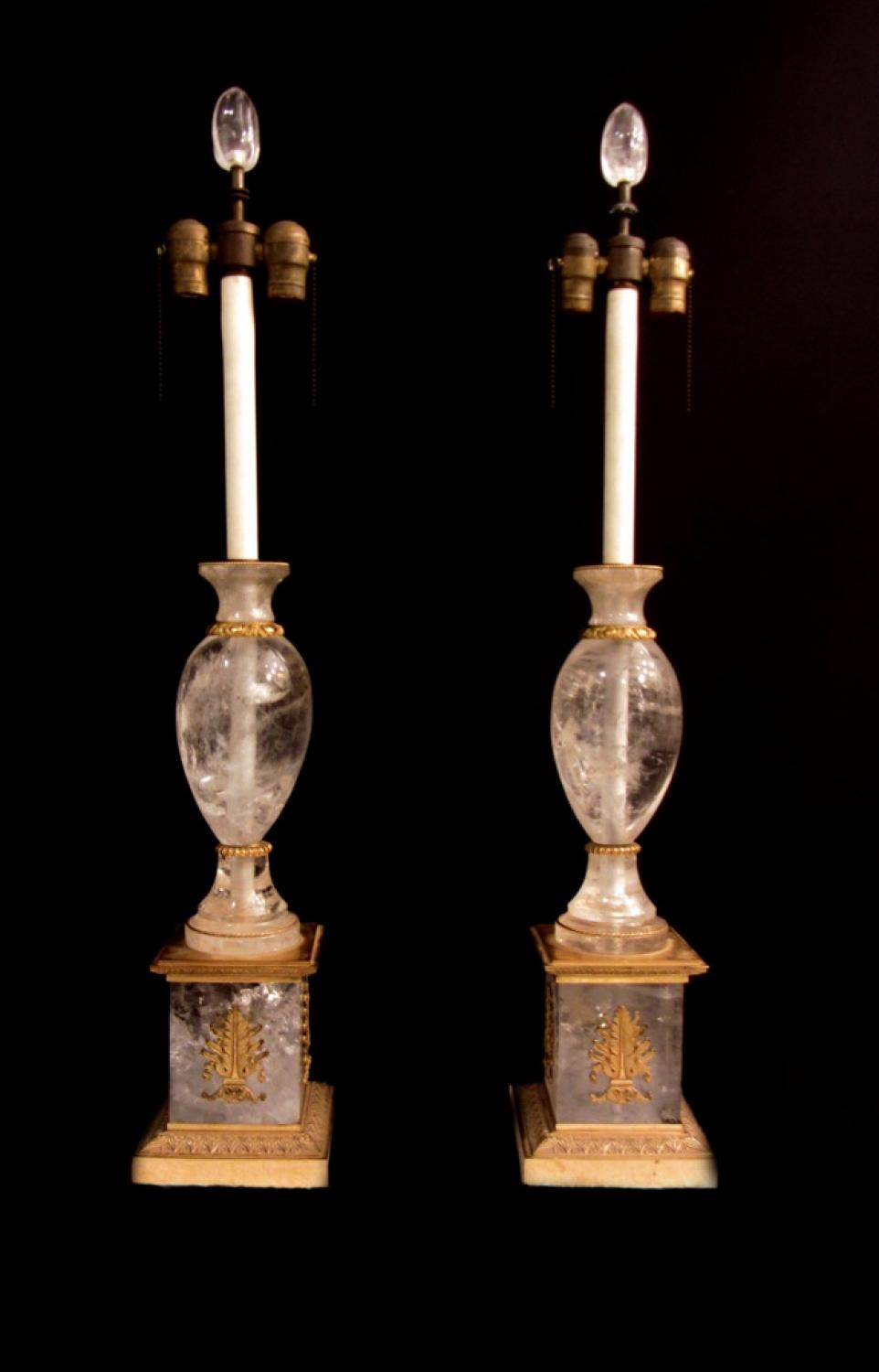 A pair of Empire style rock crystal lamps