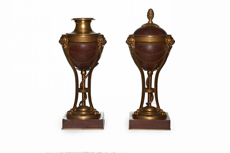 A pair of Restauration period cassolettes
