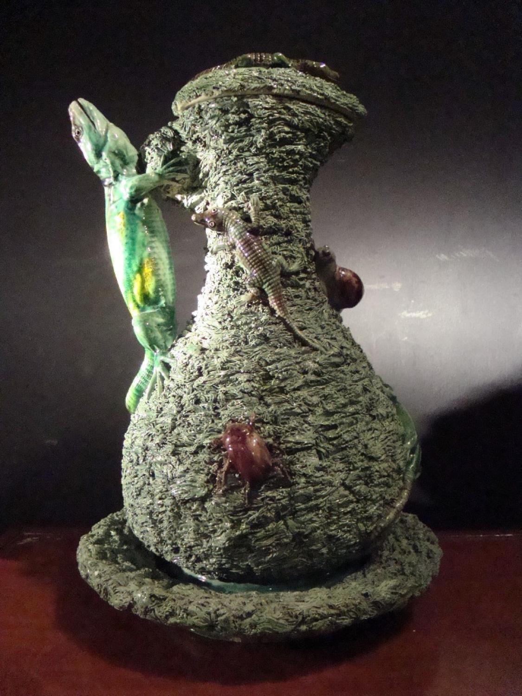 A 19th Century Caldas ceramic ewer and cover