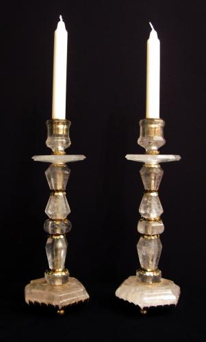 A pair of solid rock crystal candlesticks