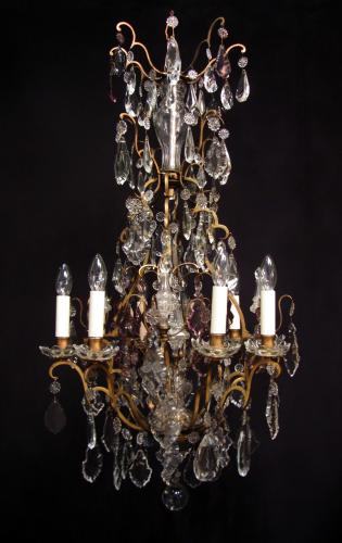 A gilt brass eight arm French chandelier