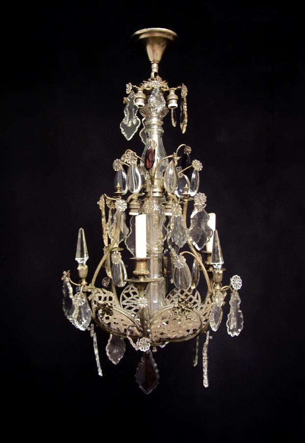 An unusual silvered bronze chandelier