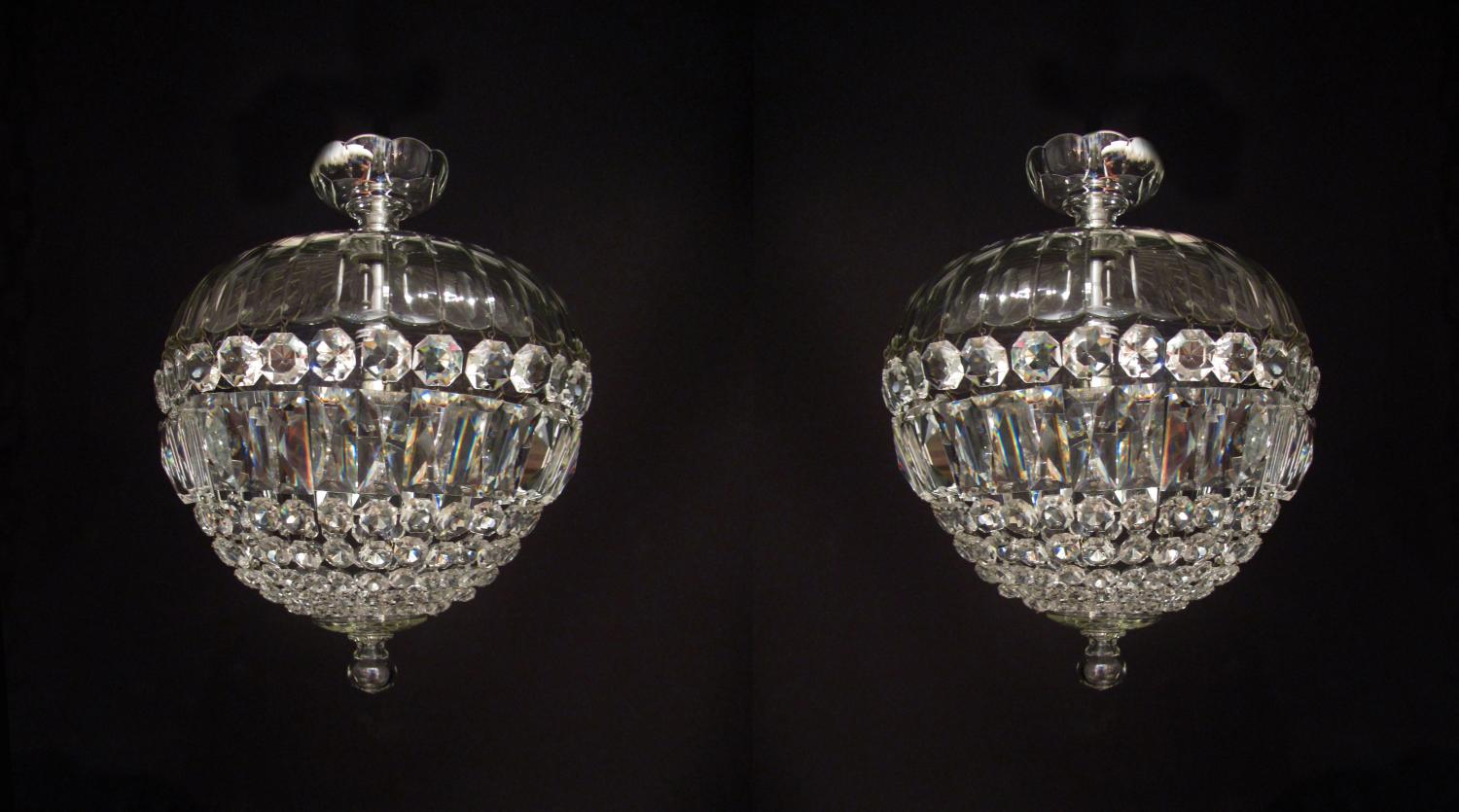 A pair of cut glass English 'bag' lights