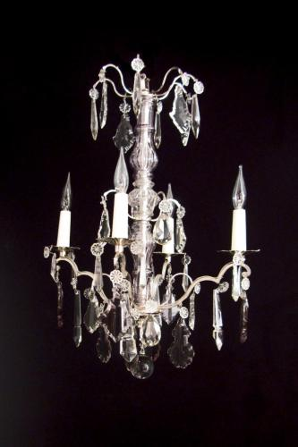 A small silvered and amethyst chandelier