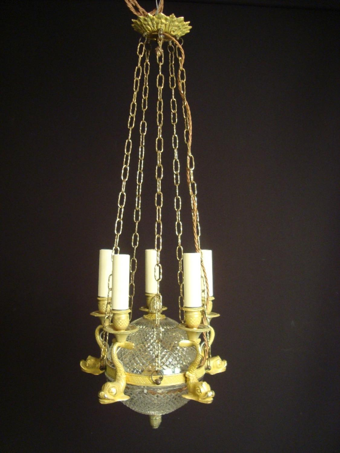 An unusual empire revival style chandelier