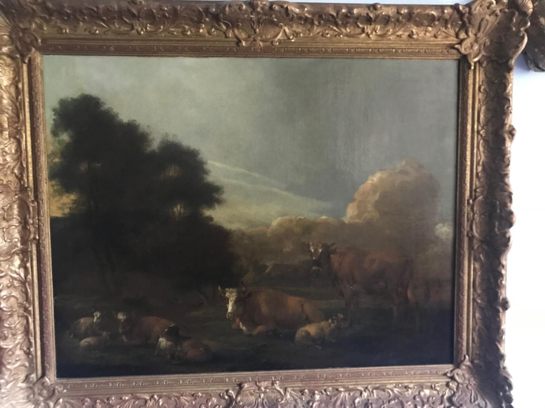 An oil painting of a farm