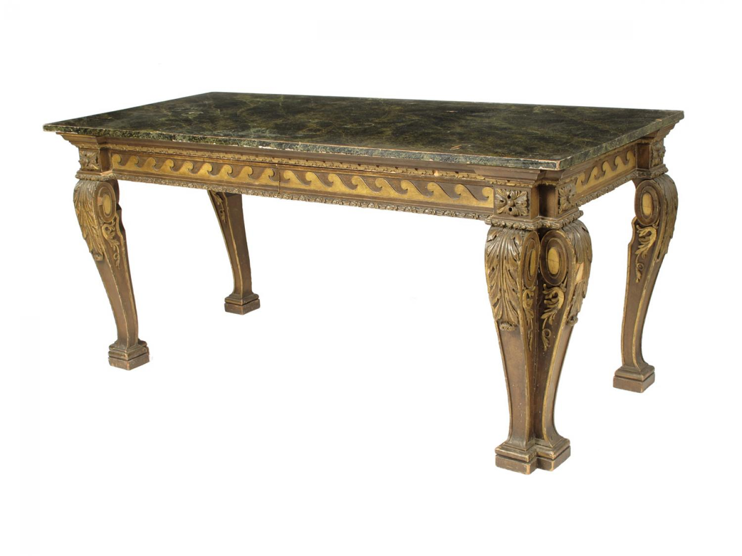 A giltwood and gesso console table