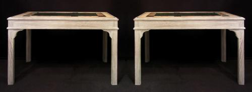 A pair of console tables