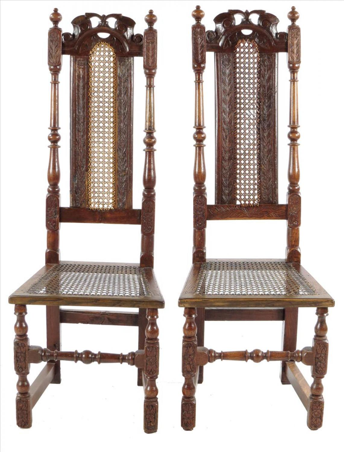 Pair of late 19th century high back chairs