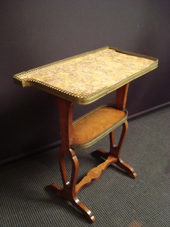 A marble topped kingwood veneered work table
