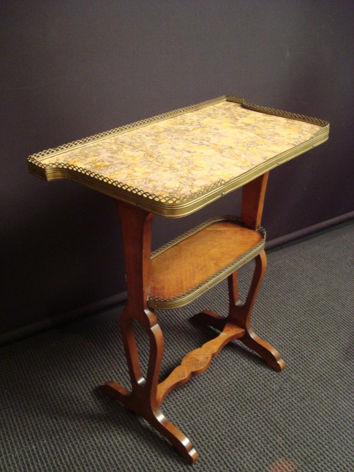 A marble topped kingwood veneered work table