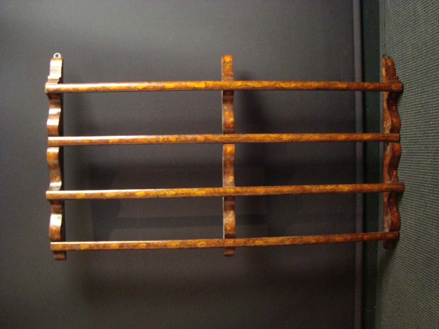 A 19th century Dutch marquetry plate rack