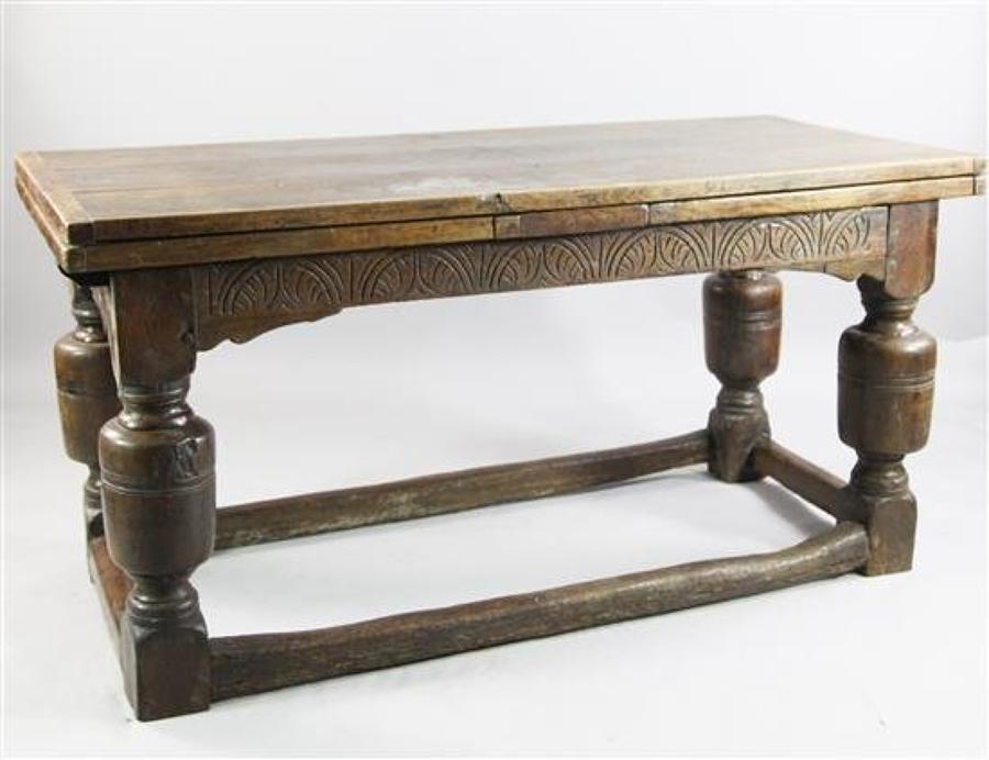 A 17th Century design oak draw leaf table