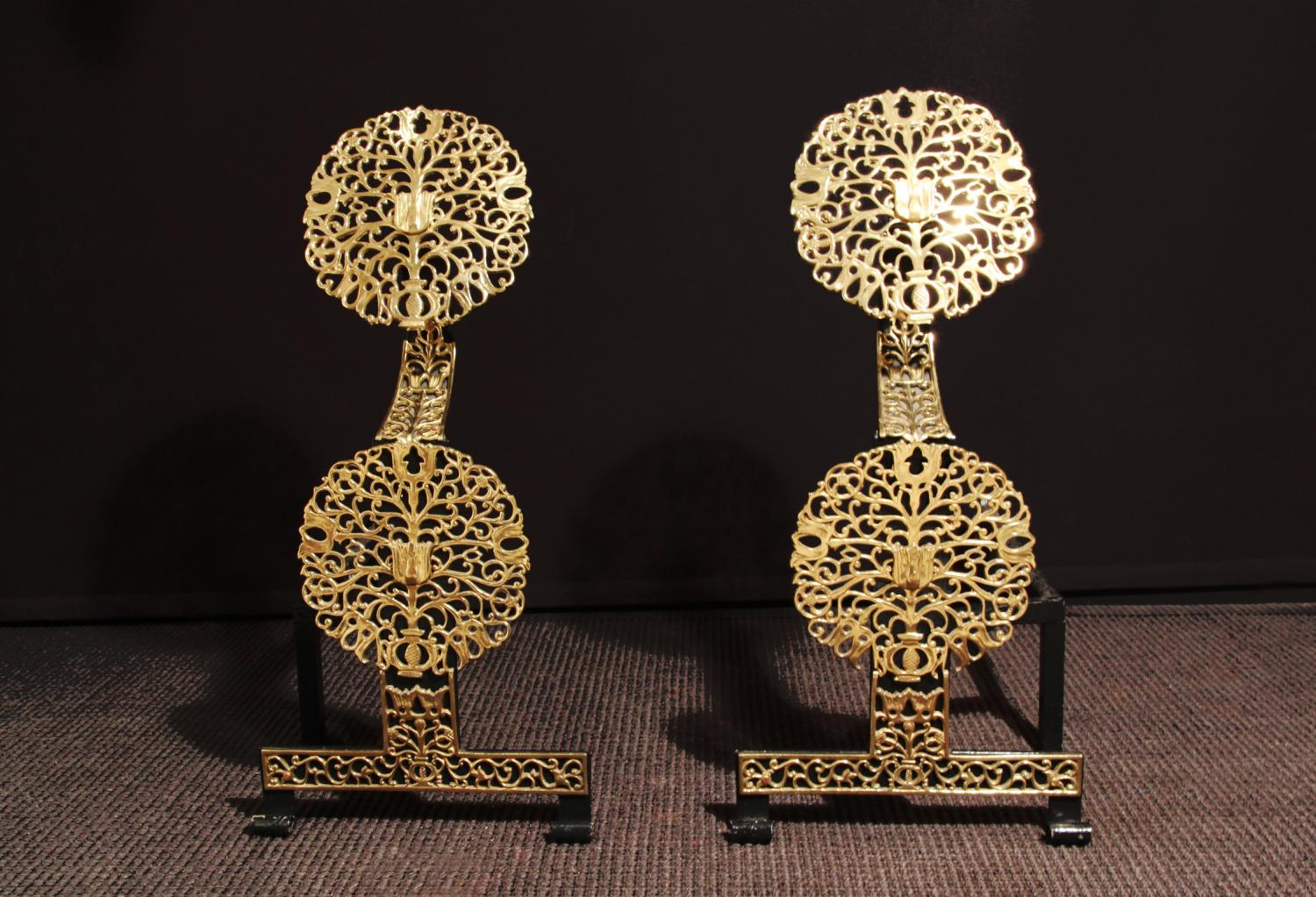 Pair of Charles II style brass firedogs