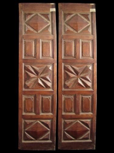 A pair of 18th Century Spanish walnut doors