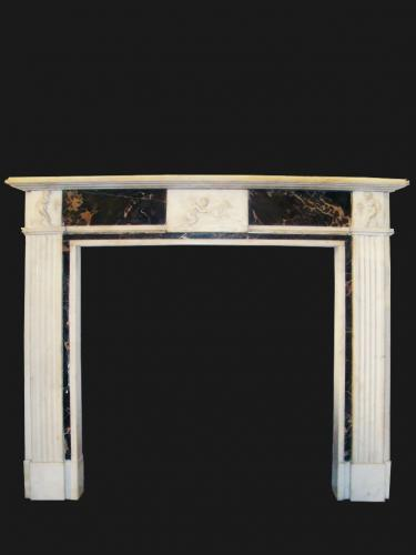 White and black marble fire surround
