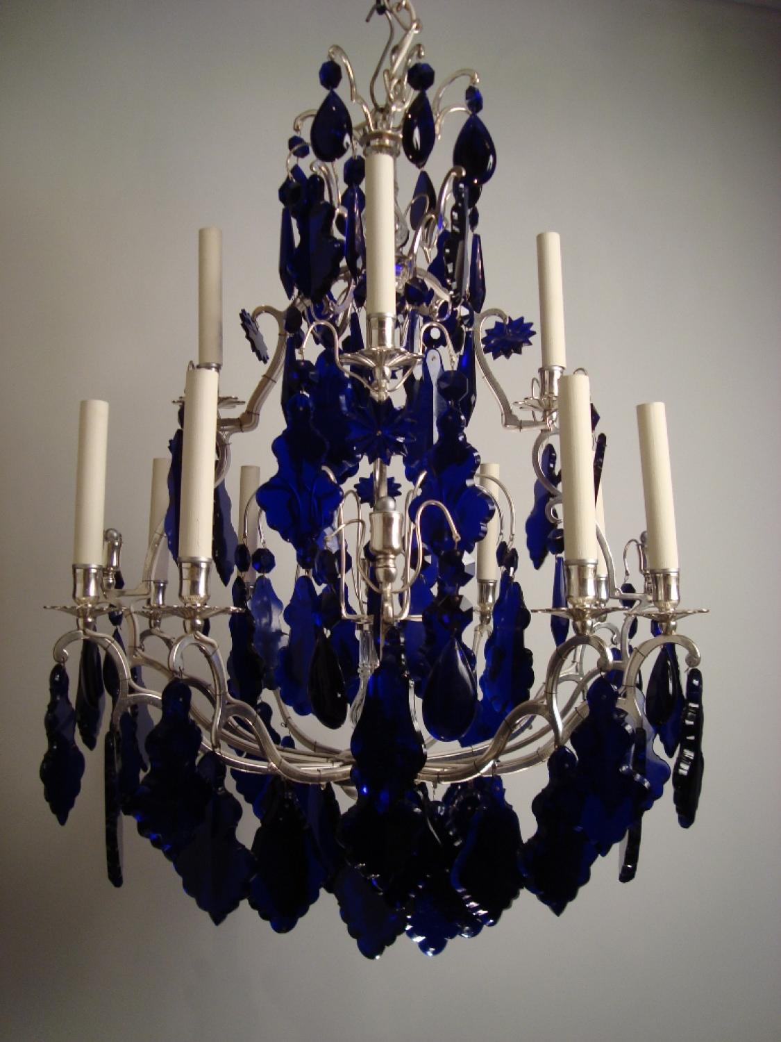 A silvered and blue glass chandelier