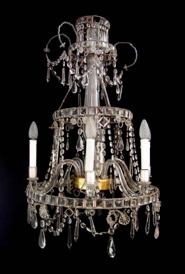 An unusual glass chandelier