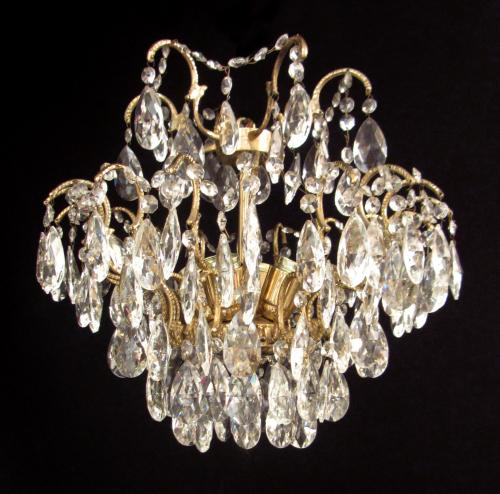 An unusual faceted glass ceiling light