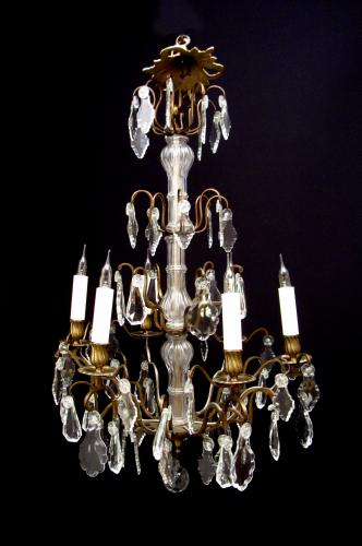 A French gilt brass and glass chandelier