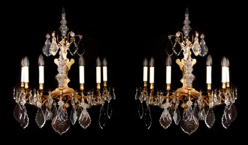 A large pair of 18th century wall lights