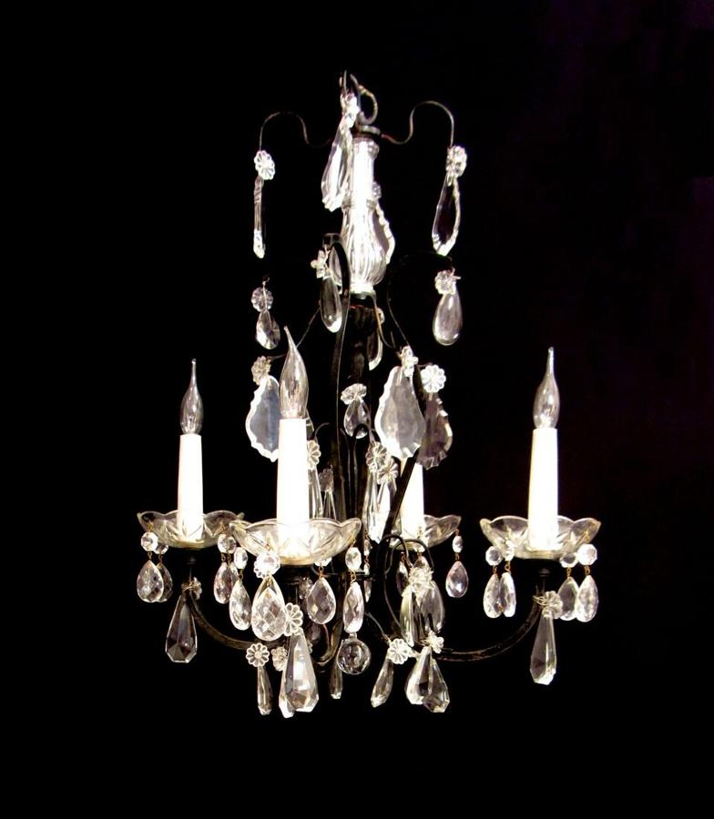 A black patina brass and crystal chandelier