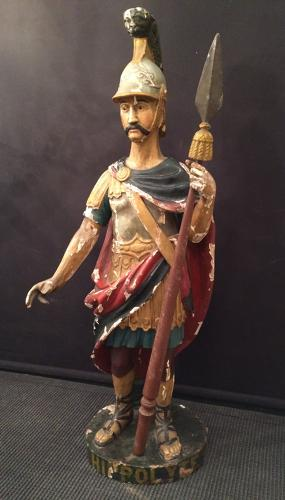 St Hyppolite polychrome carved wood statue