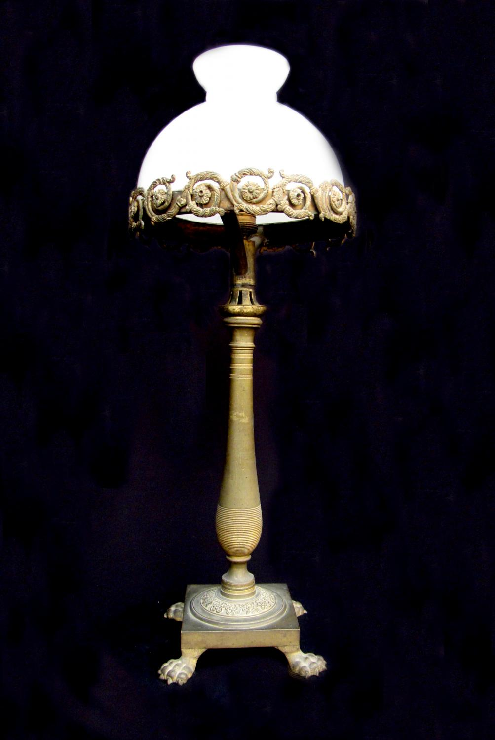 A bronze table lamp