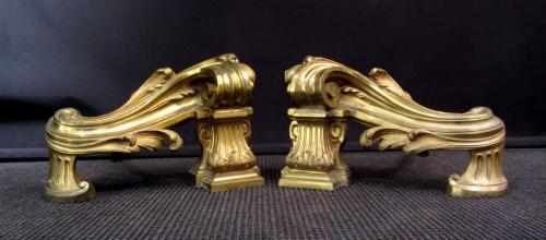 Pair of Louis XV style firedogs