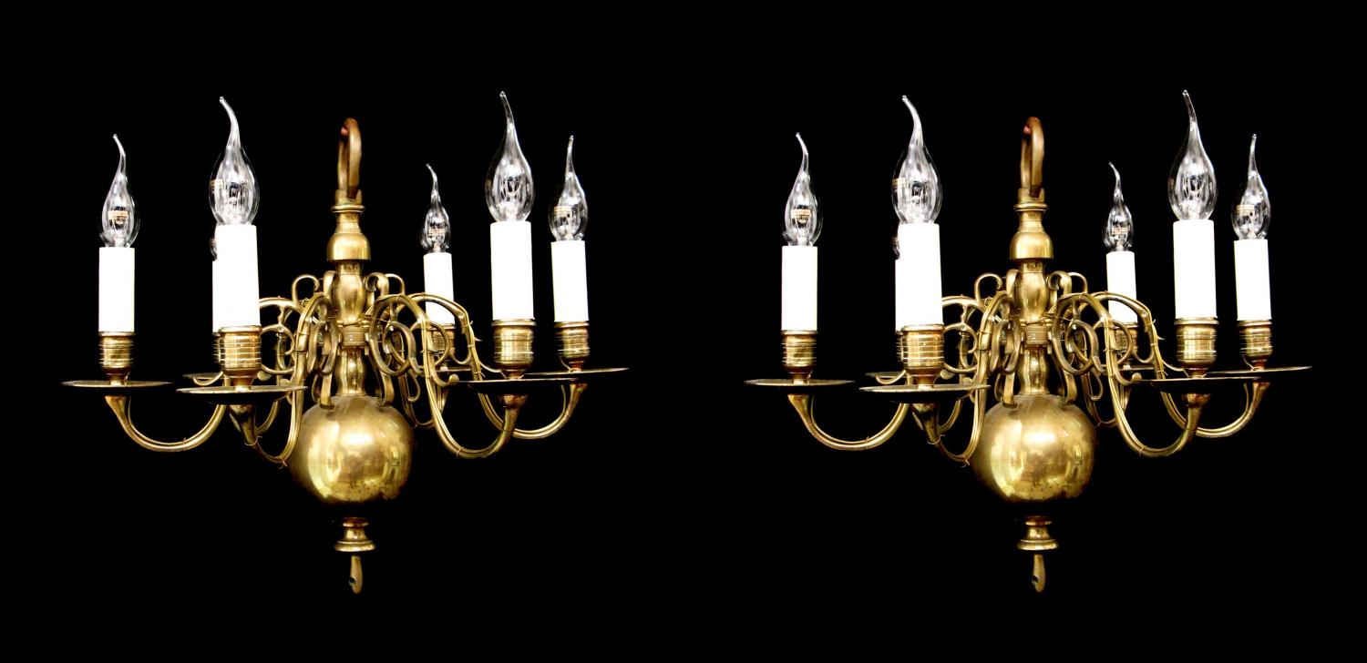 A near pair of Dutch style chandeliers