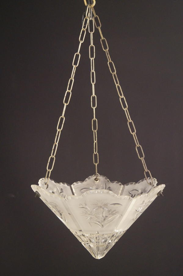 An unusual Art Deco cut glass ceiling light