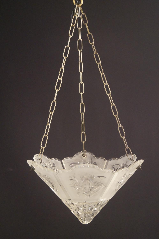 An unusual Art Deco cut glass ceiling light