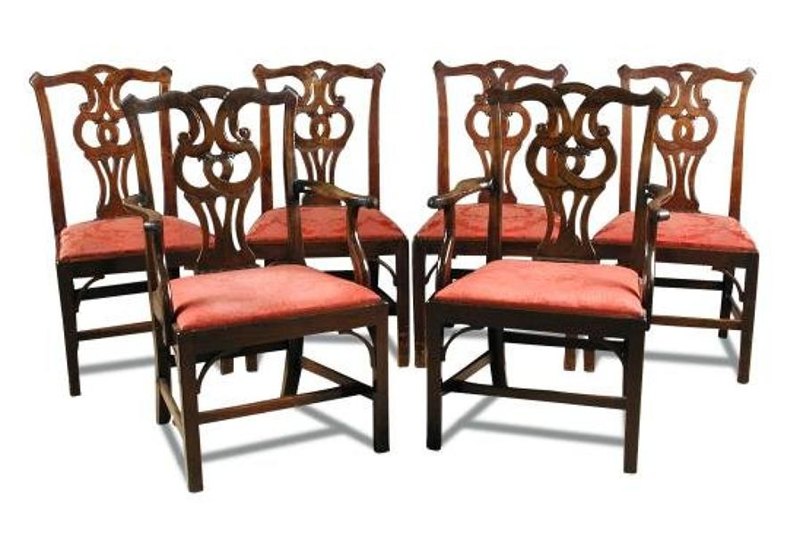 A set of six George II dining chairs