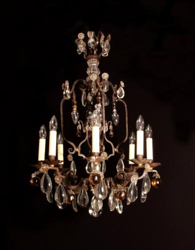 A fer forge metal chandelier