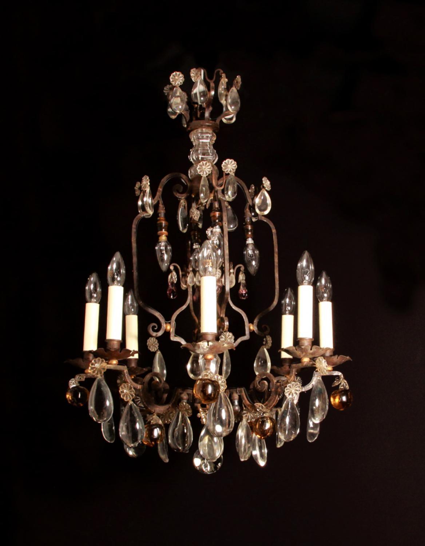A fer forge metal chandelier