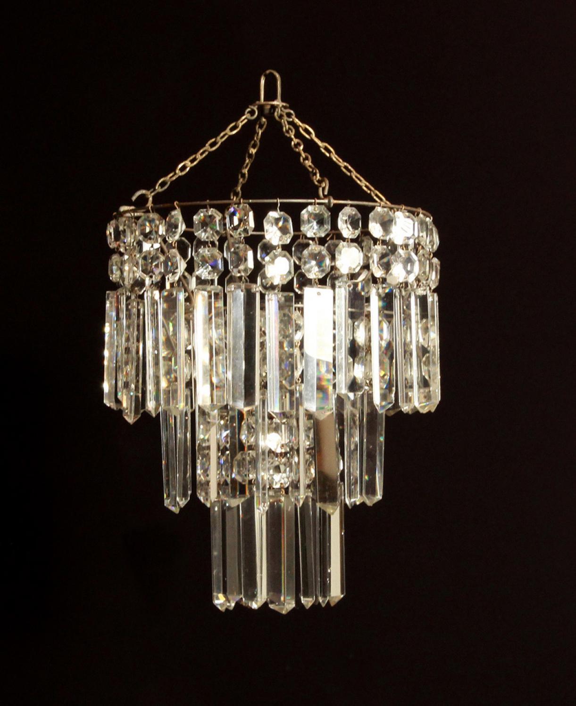A small cut glass waterfall chandelier