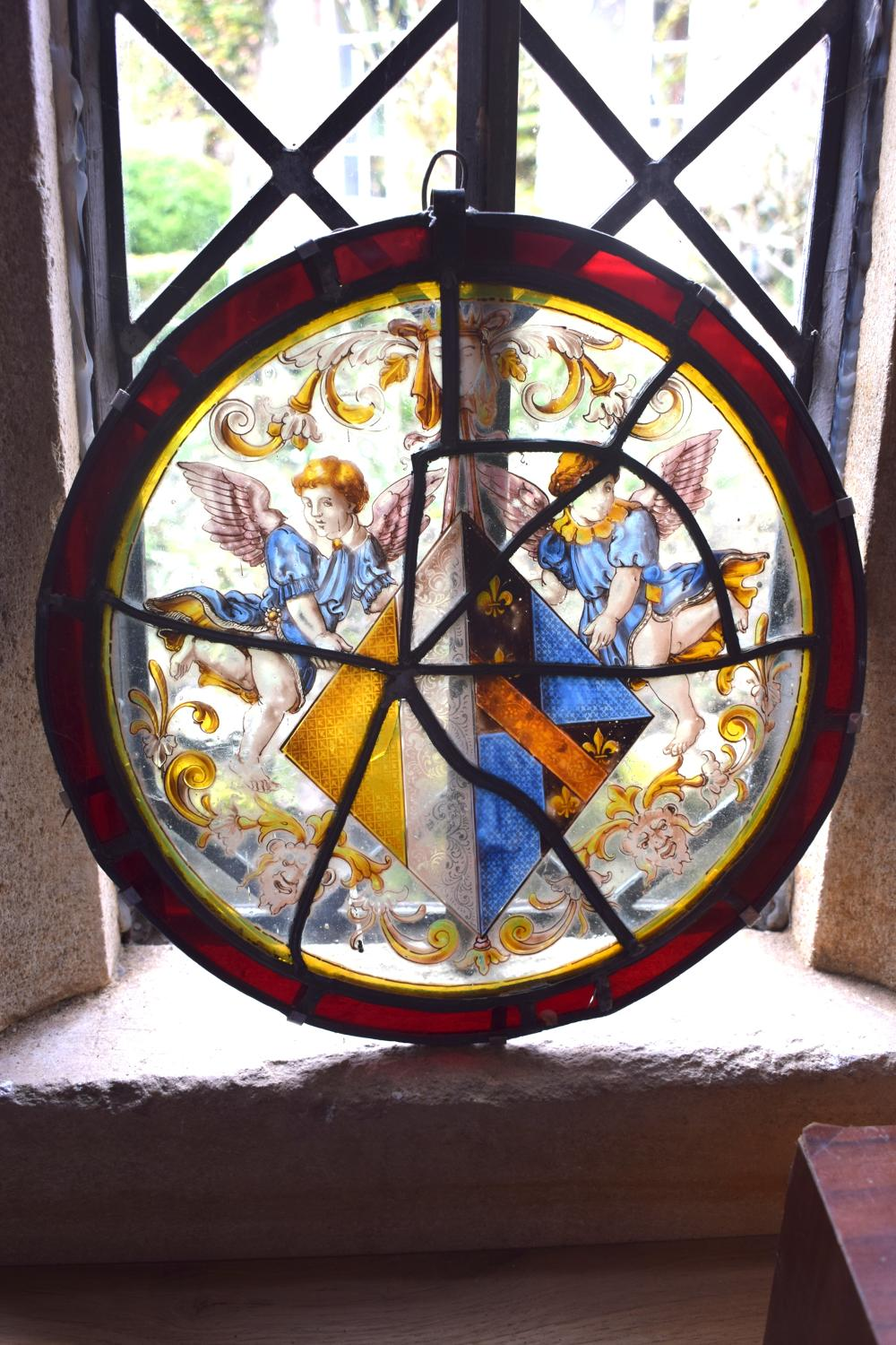An early stained glass depicting angels