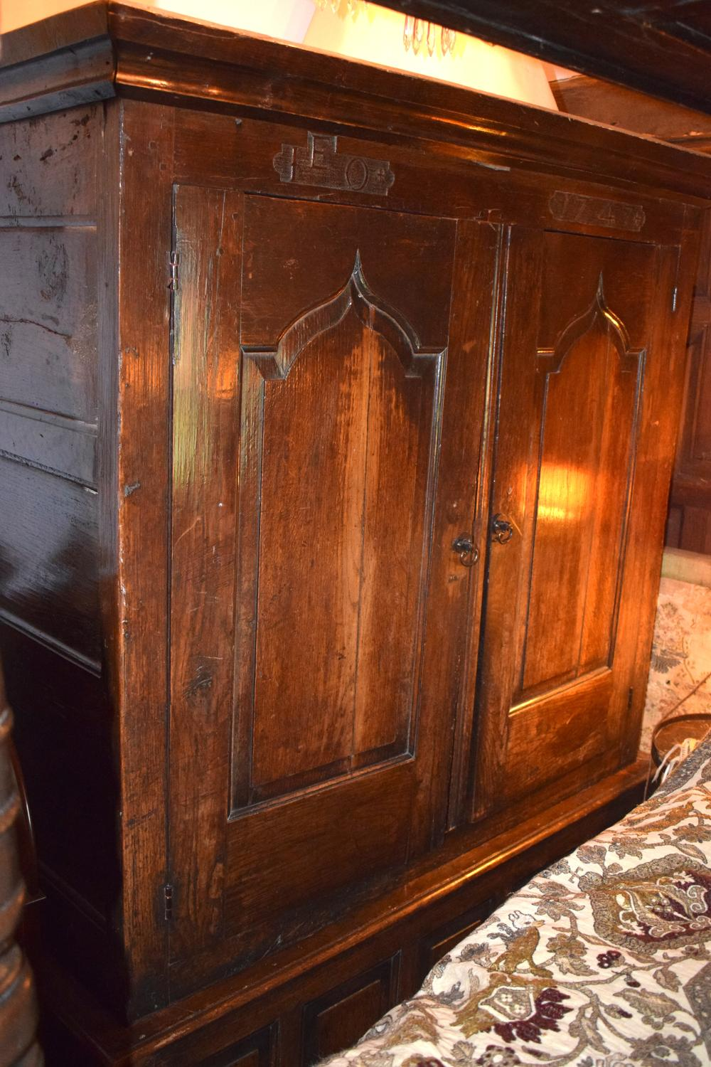 A 17th century oak cupboard