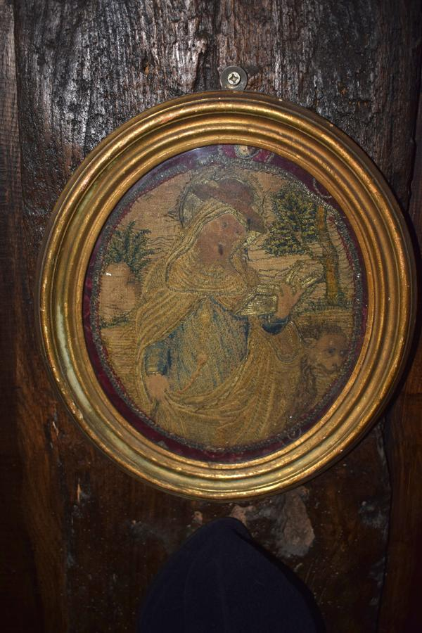 A needlework picture of Saint Gertrude