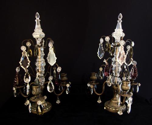 A Small Pair Of Three Candle Girandole