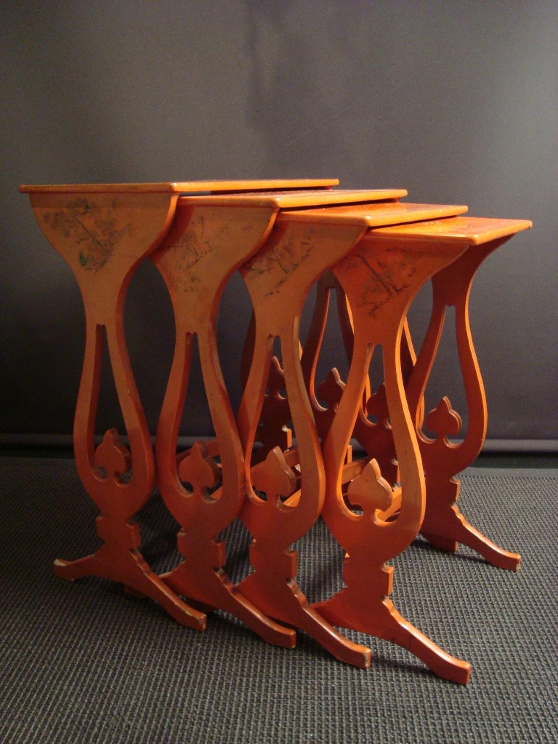 A Nest Of Cantonese Red Lacquer Tables