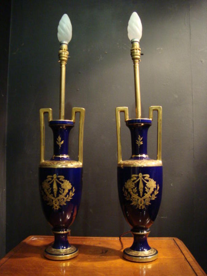 A Pair Of Royal Blue French Ceramic Vases