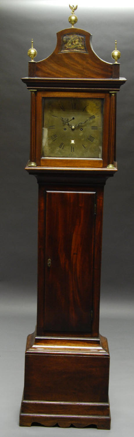 A Mahogany Brass Faced Grandfather Clock