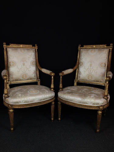 A Pair of Italian Louis XVI Style Arm Chairs