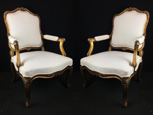 A Pair of Louis XV Style Arm Chairs
